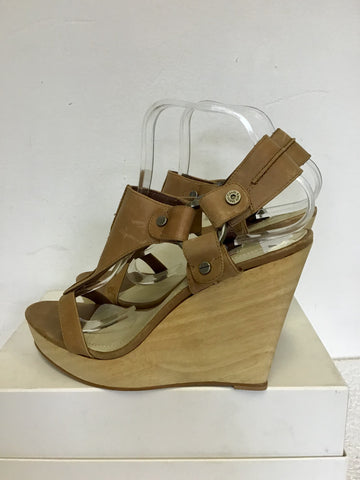 CALVIN KLEIN TAN LEATHER WEDGE HEEL PLATFORM SANDALS SIZE 7/40