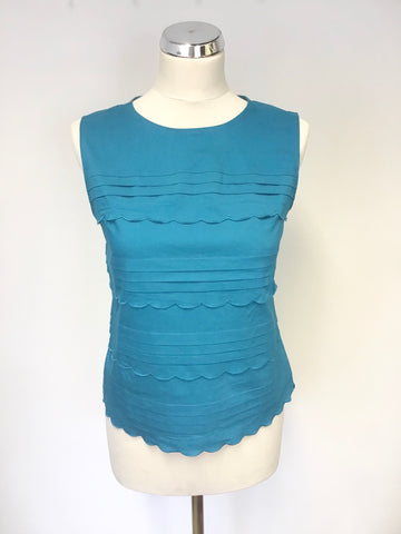 346 BROOKS BROTHERS TURQUOISE COTTON SLEEVELESS TOP SIZE 8