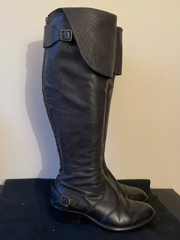 BELSTAFF ANTIQUE BLACK TIGHT TRIALMASTER 55 LEATHER KNEE LENGTH BOOTS SIZE 6/ 39