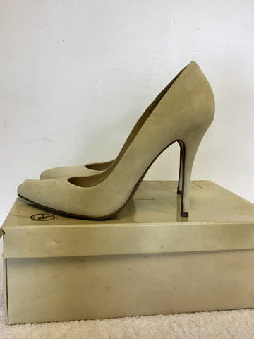 ALL SAINTS OYSTER SUEDE CELESTINE HEELS SIZE 6/39