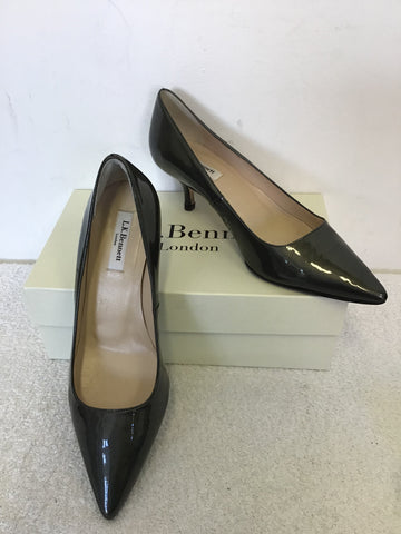 LK BENNETT BURY DARK GREY PATENT LEATHER HEELS & MATCHING CLUTCH BAG SIZE 7.5/41