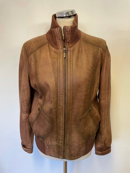 LAKELAND TAN BROWN SOFT LEATHER BOMBER JACKET SIZE 14