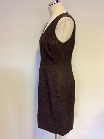 HOBBS BROWN LINEN V NECK PENCIL DRESS SIZE 12