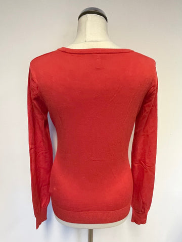 ARMANI JEANS RED V NECK LONG SLEEVE CARDIGAN SIZE S