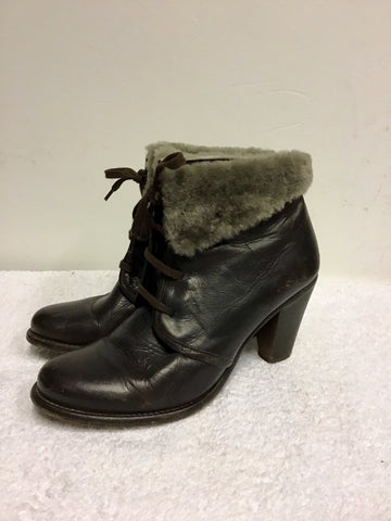 HUDSON DARK BROWN LEATHER FAUX FUR TRIM LACE UP ANKLE BOOTS SIZE 7/40