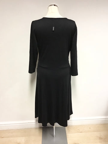 BRAND NEW BETTY BARCLAY BLACK WOOL BLEND WRAP DRESS SIZE 18