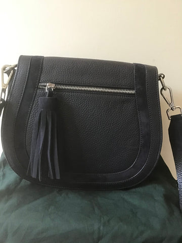 BRAND NEW HOBBS NAVY BLUE FAYE TASSEL TRIM LEATHER & SUEDE CROSS BODY BAG
