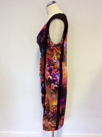 ARIANNA MULTI COLOURED PRINT STRETCH DRAPED DRESS SIZE 44 UK 16