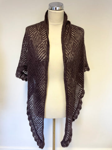 NOA NOA MULBERRY & SILVER THREADED EDGE WOOL SHAWL/ WRAP ONE SIZE