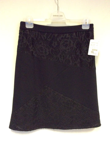 BRAND NEW BARBARA LEBEL BLACK LACE PANEL KNEE LENGTH SKIRT SIZE 18