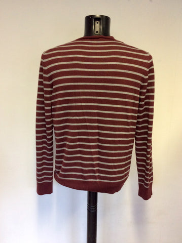 DKNY JEANS BURGUNDY & GREY STRIPE MERINO WOOL V NECK JUMPER SIZE XL