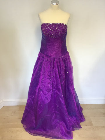 BRAND NEW UNBRANDED PURPLE SEQUINNED STRAPLESS BALLGOWN SIZE 14