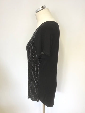 KAREN MILLEN BLACK & SILVER BEADED FRONT SHORT SLEEVE TOP / T SHIRT SIZE 14