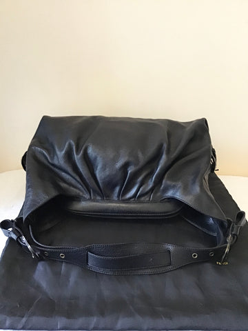 FENDI LARGE BLACK LEATHER DOCTOR B SHOULDER BAG