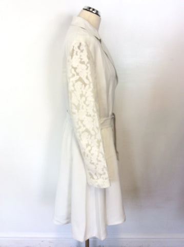 BRAND NEW ELIE TAHARI WHITE LACE SLEEVE SPECIAL OCCASION COAT SIZE XL