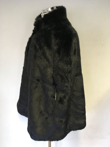BRAND NEW RALPH LAUREN BLACK FAUX FUR CAPE ONE SIZE