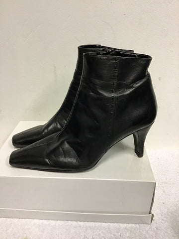 FOLIO BLACK LEATHER ANKLE BOOTS SIZE 5/38
