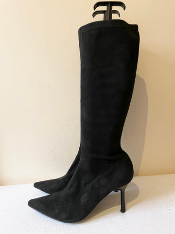 LK BENNETT BLACK SUEDE STRETCH SOCK BOOTS SIZE 7/40