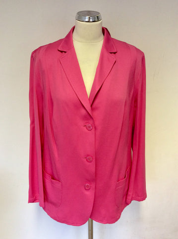 BRAND NEW BARBARA LEBEK HOT PINK COTTON BLEND JACKET SIZE 20