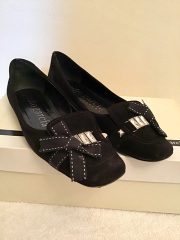 PEDRO GARCIA PAMMY BLACK SUEDE JEWEL & BOW TRIM FLATS SIZE 5/38