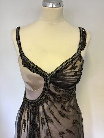 BRAND NEW KAREN MILLEN BRONZE SILK & BLACK NET OVERLAY BEADED SPECIAL OCCASION DRESS SIZE 10