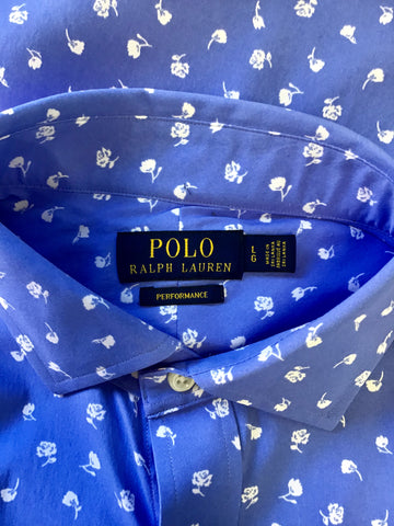 POLO RALPH LAUREN PERFORMANCE BLUE & WHITE PRINT SHIRT SIZE LARGE