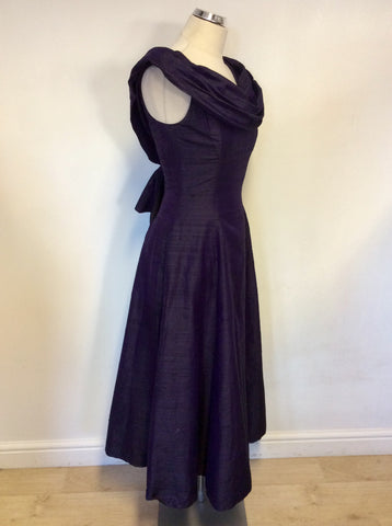 VINTAGE MONSOON TWILIGHT PURPLE SILK EVENING/ OCCASION  DRESS SIZE 12 FIT UK 10