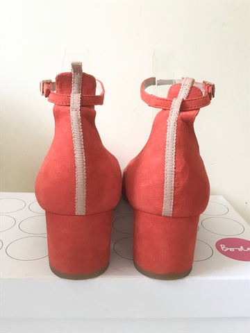 BODEN CORAL RED SUEDE ANKLE STRAP BLOCK HEELS SIZE 7/40