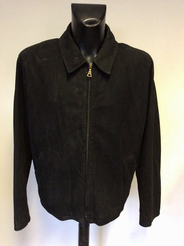 MULBERRY BLACK SUEDE ZIP UP JACKET SIZE L