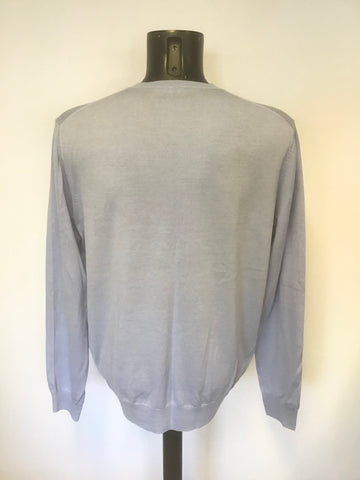 JAEGER PALE BLUE 100% WOOL V NECK JUMPER SIZE XL