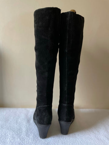 MISS KG/ KURT GEIGER BLACK SUEDE WEDGE HEEL KNEE LENGTH BOOTS SIZE 4/37