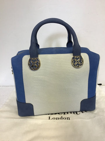 BRAND NEW LK BENNETT GILLIAN BLUE & WHITE LEATHER HAND/ SHOULDER BAG