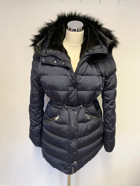 ZARA WOMAN NAVY BLUE FUR TRIM DOWN & FEATHER FILLED JACKET WITH INNER HOOD SIZE L