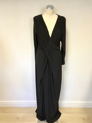 COAST BLACK LONG SLEEVE WRAP ACROSS EVENING DRESS SIZE 18