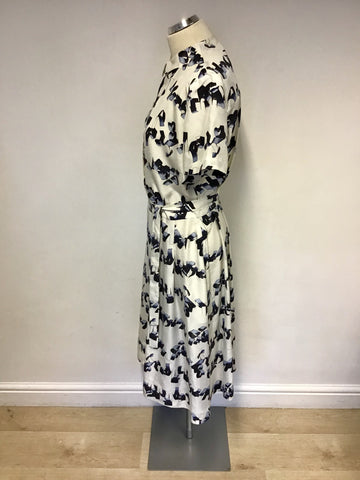 BAND NEW & OTHER STORIES GRAPHIC STEAMER IVORY & BLUE PRINT SILK DRESS SIZE 12