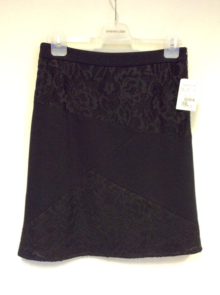 BRAND NEW BARBARA LEBEL BLACK LACE PANEL KNEE LENGTH SKIRT SIZE 12
