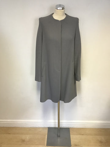 DESIGNER GOAT GREY REDGRAVE GREY LONGER LINE WOOL COAT SIZE 12