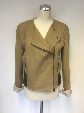 ARMANI EXCHANGE CAMEL & BLACK FAUX LEATHER TRIM COLLARLESS ZIP JACKET SIZE L