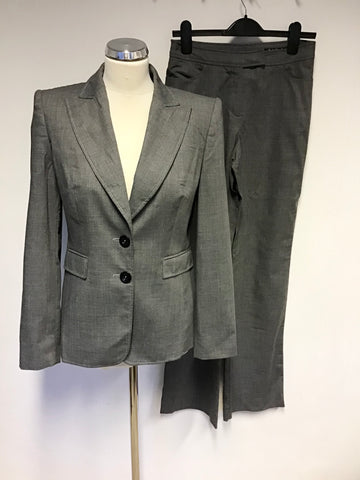 BETTY BARCLAY GREY WOOL BLEND JACKET & TROUSER SUIT SIZE 10