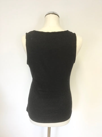 KAREN MILLEN BLACK ZIP & SILK PLEATED TRIM SLEEVELESS VEST TOP SIZE 14