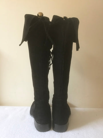 BODEN BLACK SUEDE KNEE LENGTH TURN OVER TOP BOOTS SIZE 5/38