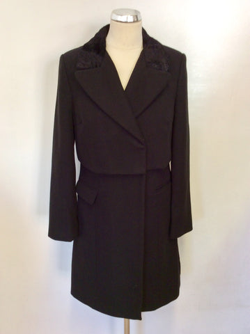 MARKS & SPENCER LIMITED COLLECTION BLACK KNEE LENGTH COAT SIZE 8