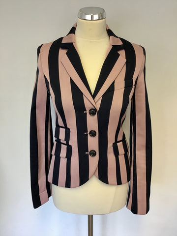 JACK WILLS FABULOUSLY BRITISH NAVY BLUE & PINK STRIPE WOOL BLEND JACKET SIZE 8