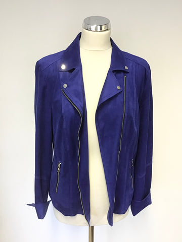 BRAND NEW GERRY WEBER ELECTRIC BLUE SUEDETTE BIKER JACKET SIZE 14