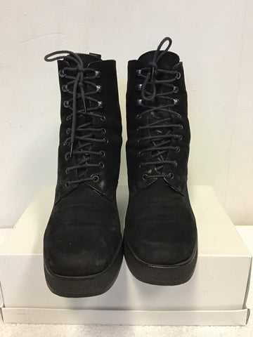 PIED A TERRE BLACK SUEDE LACE UP ANKLE BOOTS SIZE 3.5/36