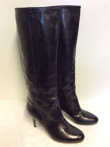 SERGIO ROSSI BLACK ALL LEATHER KNEE LENGTH BOOTS SIZE 6/39