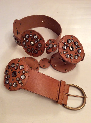 WHISTLES TAN BROWN RHINESTONE TRIM LEATHER BELT SIZE 3 UK M/L