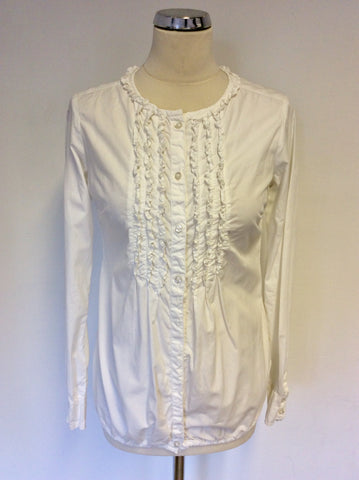REPLAY ORIGINAL WHITE FRILL TRIM LONG SLEEVE SHIRT SIZE XS