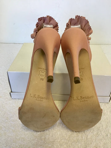 BRAND NEW LK BENNETT RENAE PINK LEATHER PLEATED SLINGBACK STRAP HEELS SIZE 6/39