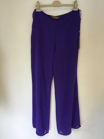 BRAND NEW DEMETRIOS PURPLE FLOATY EMBELLISHED TOP & MATCHING TROUSERS SIZE 14